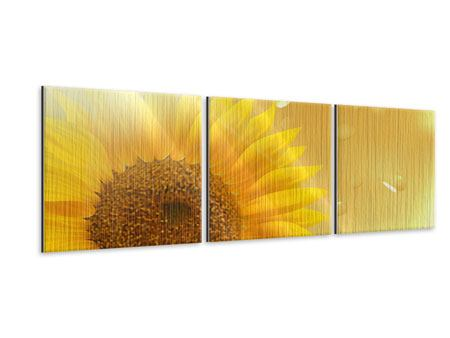 Panorama Metallic-Bild 3-teilig Sonnenblume im Morgentau