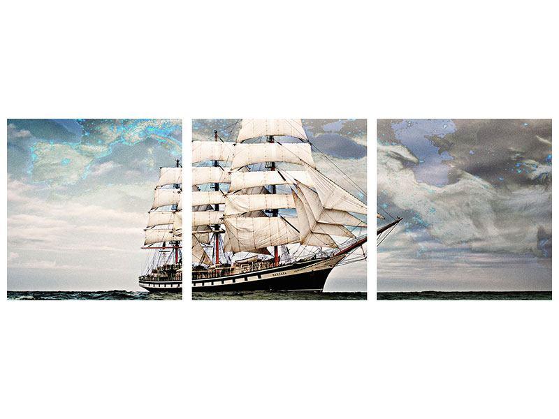Panorama Metallic-Bild 3-teilig Segelschiff
