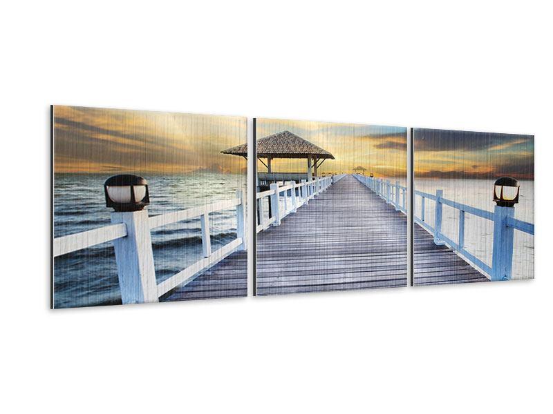 Panorama Metallic-Bild 3-teilig Die Brücke ins Meer