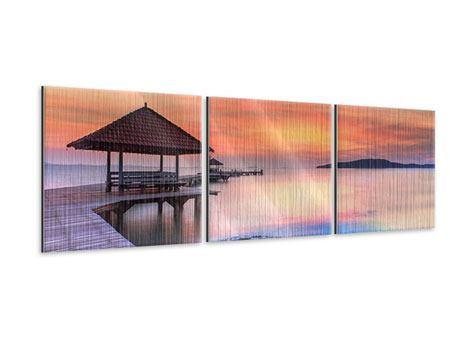 Panorama Metallic-Bild 3-teilig Paradiesische Brücke
