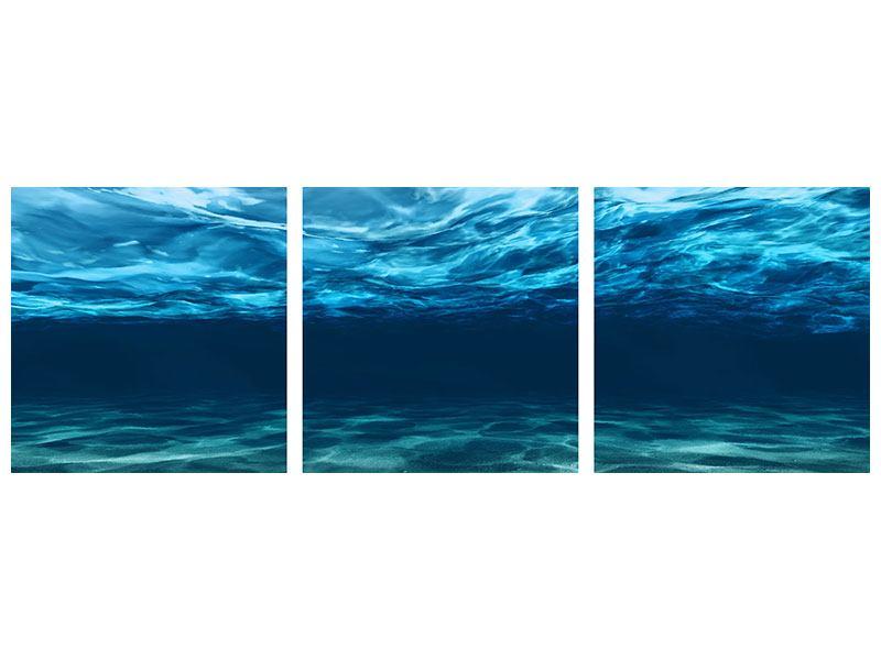 Panorama Metallic-Bild 3-teilig Lichtspiegelungen unter Wasser