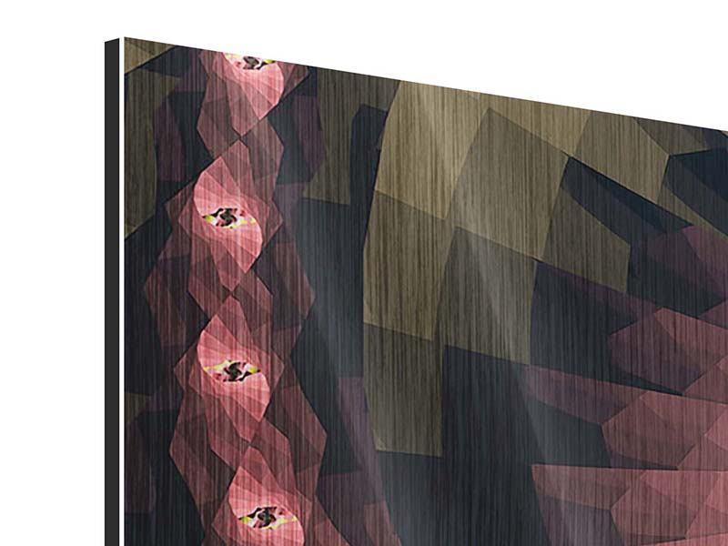 Panorama Metallic-Bild 3-teilig Abstrakte Windungen