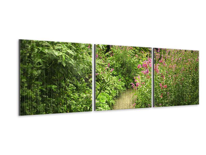 Panorama Metallic-Bild 3-teilig Gartenweg