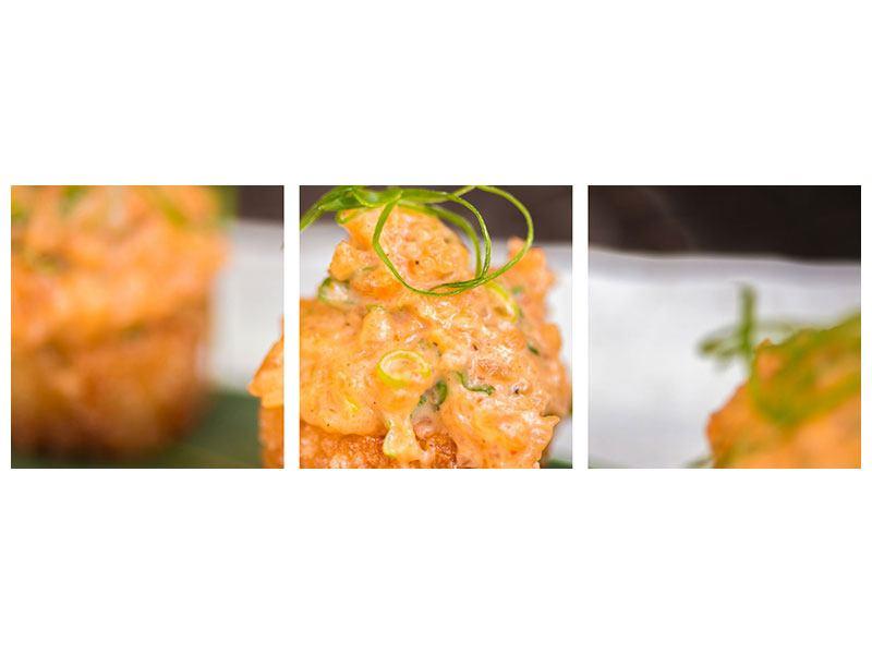 Panorama Metallic-Bild 3-teilig Asiatische Küche