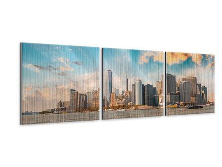 Panorama Metallic-Bild 3-teilig Skyline New York from the other Side