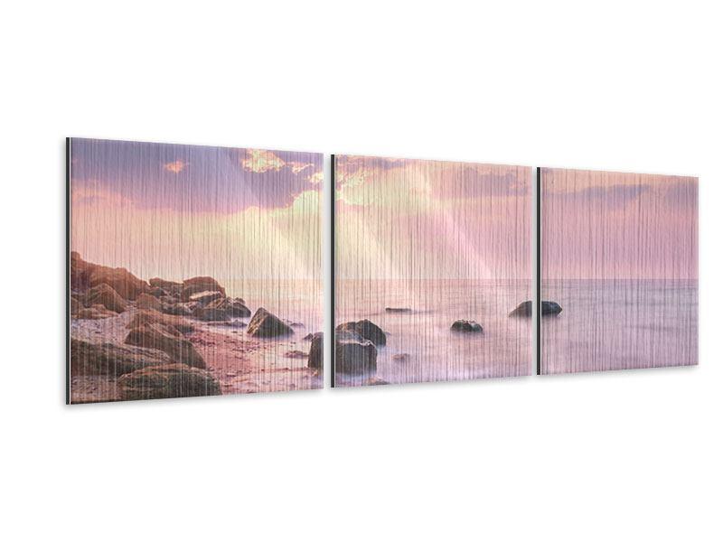 Panorama Metallic-Bild 3-teilig Sonnenaufgang am Meer