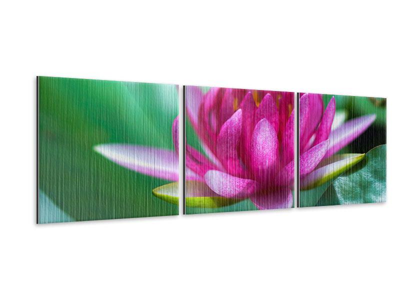 Panorama Metallic-Bild 3-teilig Lotus in Pink