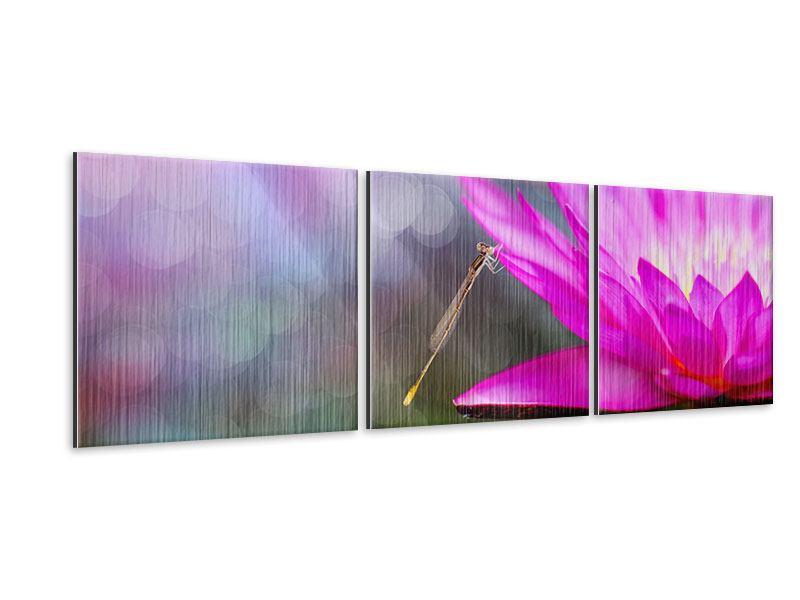 Panorama Metallic-Bild 3-teilig Besuch bei der Seerose
