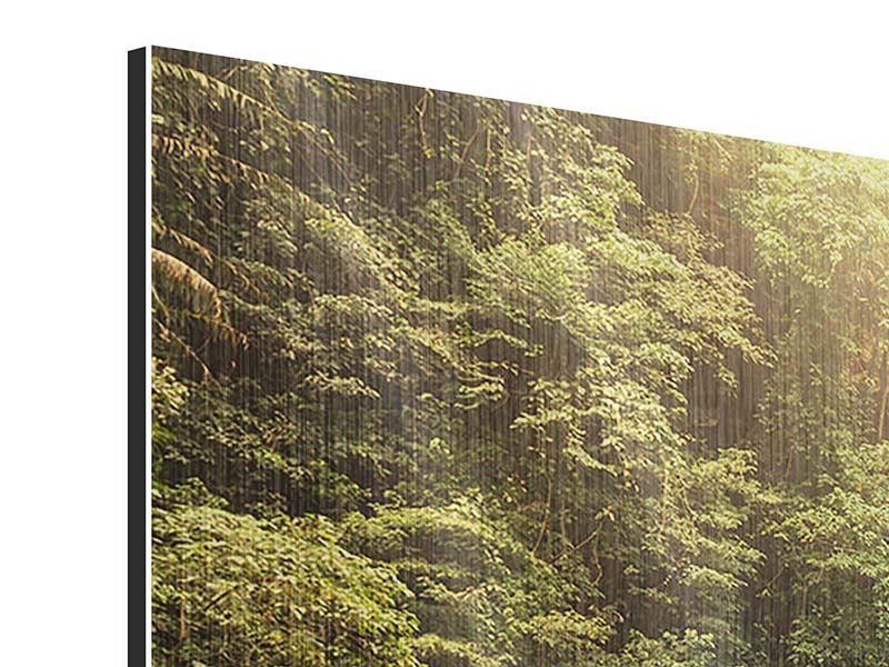 Panorama Metallic-Bild 3-teilig Wasserfall Bali