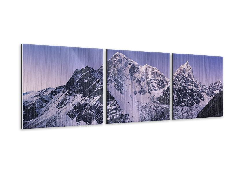 Panorama Metallic-Bild 3-teilig Taboche und Cholatse