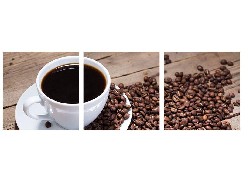 Panorama Metallic-Bild 3-teilig Coffee
