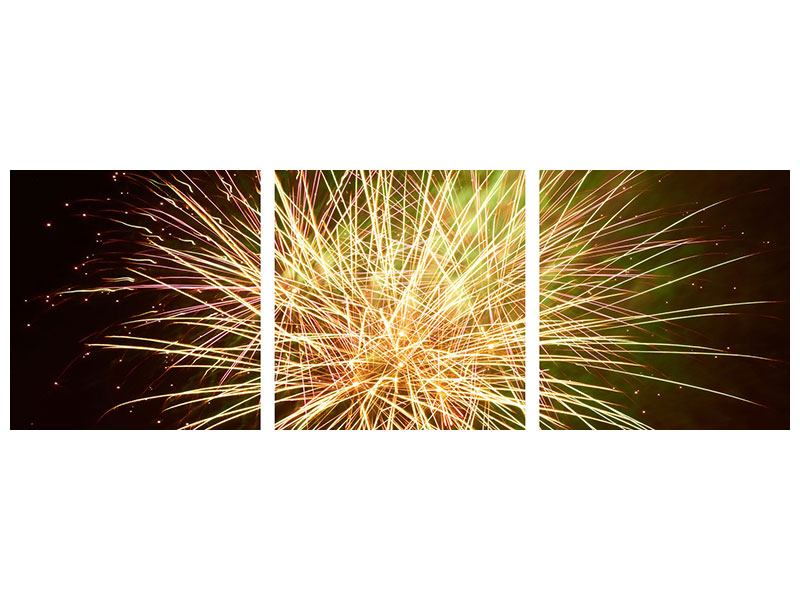 Panorama Metallic-Bild 3-teilig Feuerwerk XXL