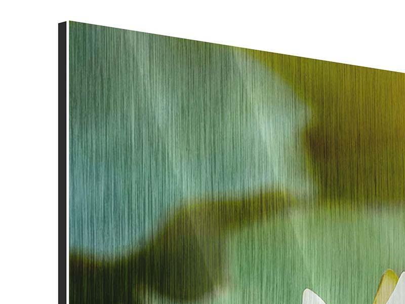 Panorama Metallic-Bild 3-teilig Romantische Seerose