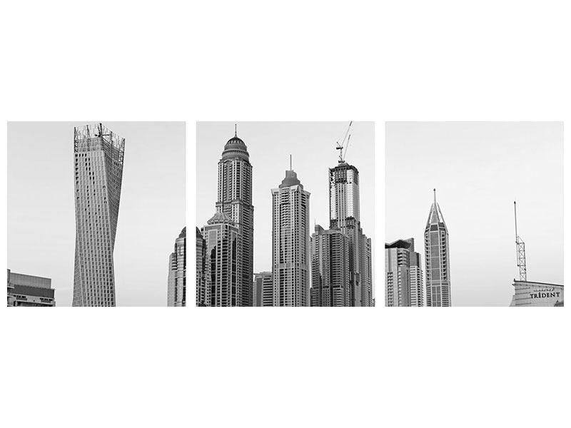 Panorama Metallic-Bild 3-teilig Majestätische Wolkenkratzer in Dubai