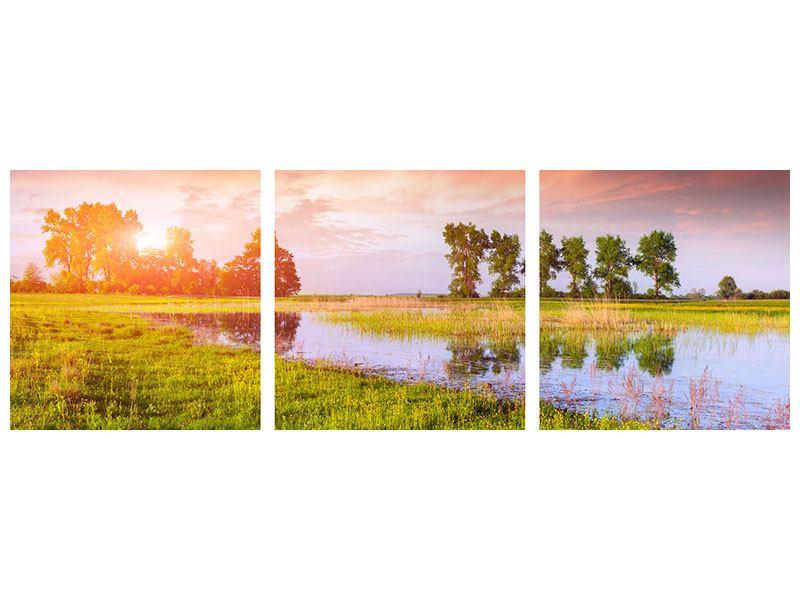Panorama Metallic-Bild 3-teilig Sonnenuntergang am See