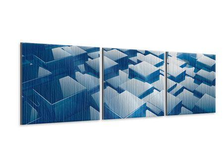 Panorama Metallic-Bild 3-teilig 3D-Cubes