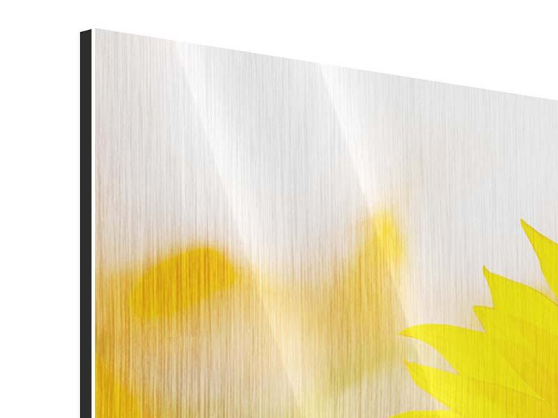 Panorama Metallic-Bild 3-teilig Sunflower