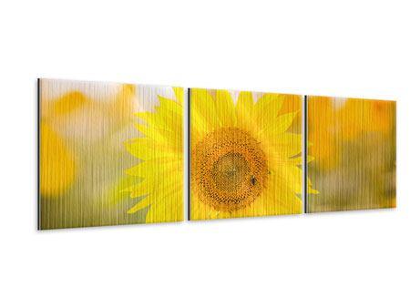 Panorama Metallic-Bild 3-teilig Sunflower