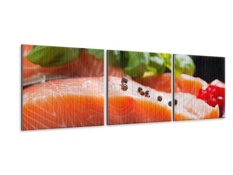 Panorama Metallic-Bild 3-teilig Frischer Fisch