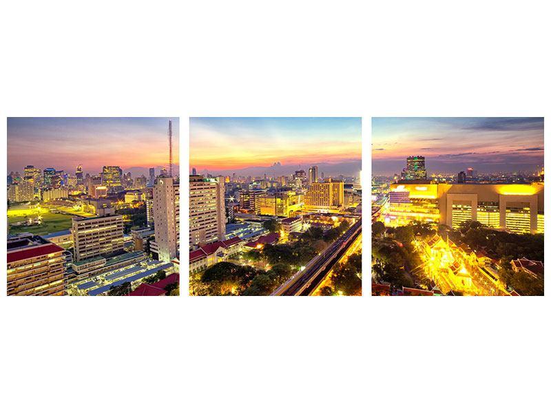 Panorama Metallic-Bild 3-teilig Bangkok