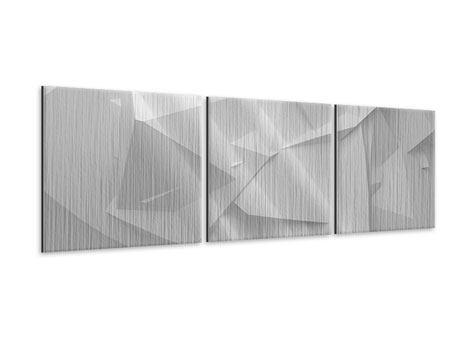Panorama Metallic-Bild 3-teilig 3D-Raster