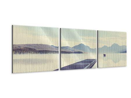 Panorama Metallic-Bild 3-teilig Bergromantik