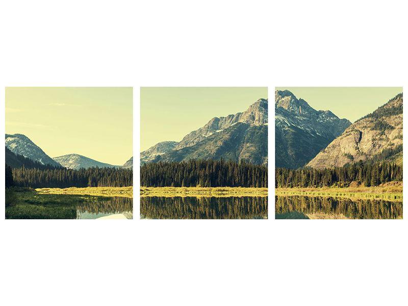 Panorama Metallic-Bild 3-teilig Der Bergsee