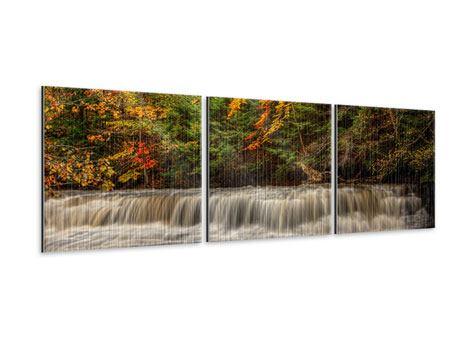 Panorama Metallic-Bild 3-teilig Herbst beim Wasserfall