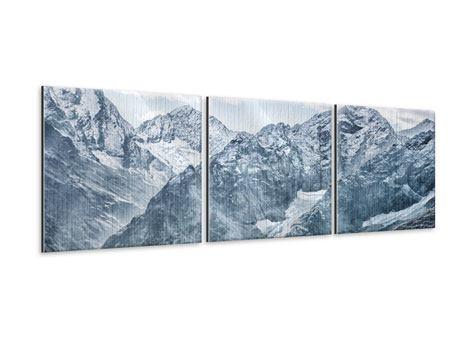 Panorama Metallic-Bild 3-teilig Gigantische Berggipfel