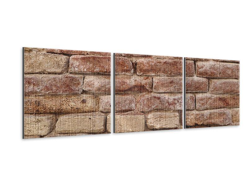 Panorama Metallic-Bild 3-teilig Loft-Mauer