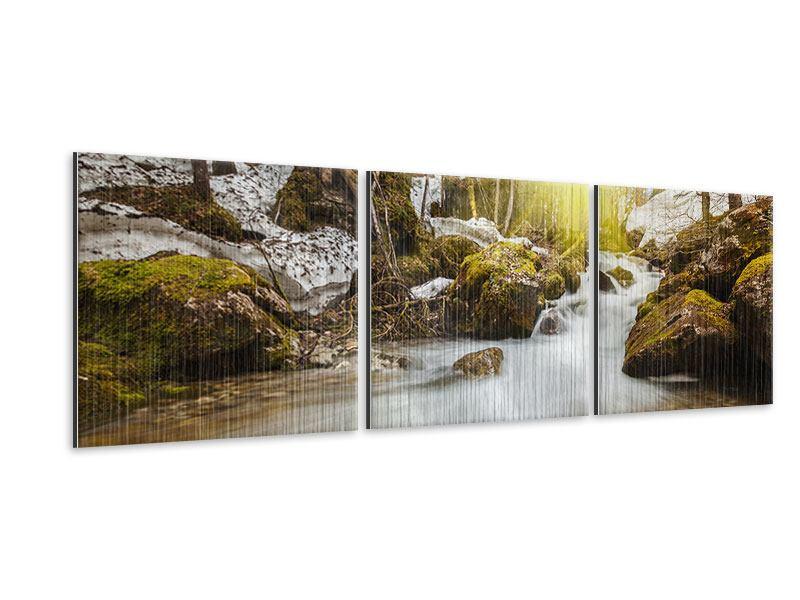 Panorama Metallic-Bild 3-teilig Herabstürzender Bach