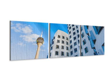 Panorama Metallic-Bild 3-teilig Neuer Zollhof Düsseldorf