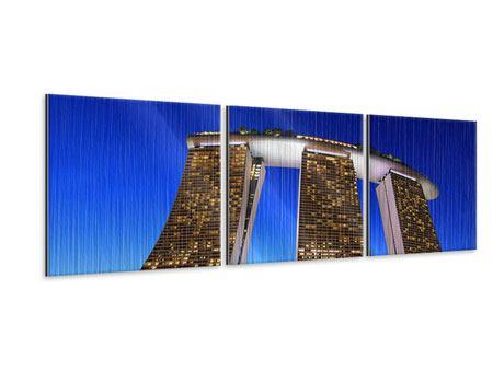 Panorama Metallic-Bild 3-teilig Wolkenkratzer Singapur