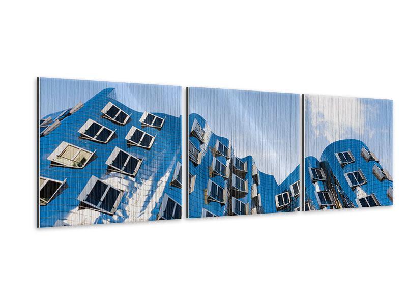 Panorama Metallic-Bild 3-teilig Neuer Zollhof