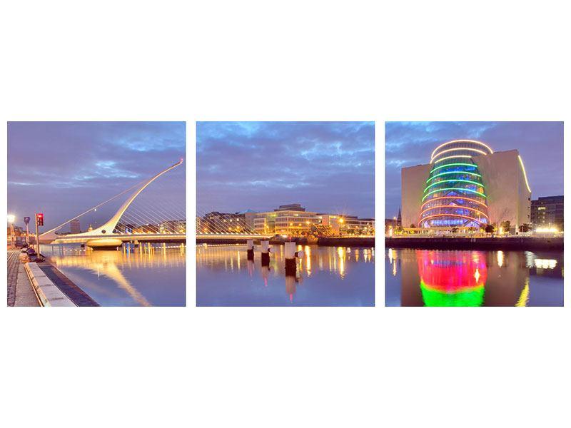 Panorama Metallic-Bild 3-teilig Samuel Beckett Bridge