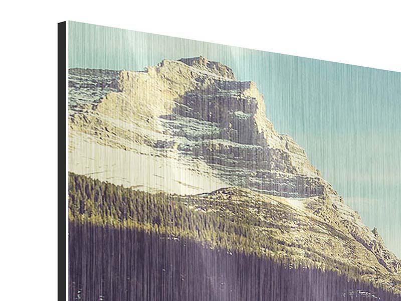 Panorama Metallic-Bild 3-teilig Spiegelung im Bergsee