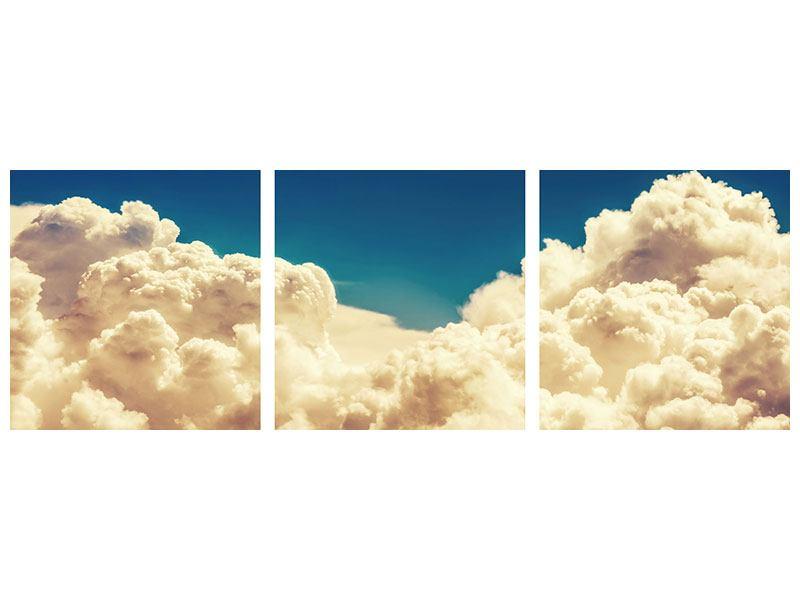 Panorama Metallic-Bild 3-teilig Himmelswolken