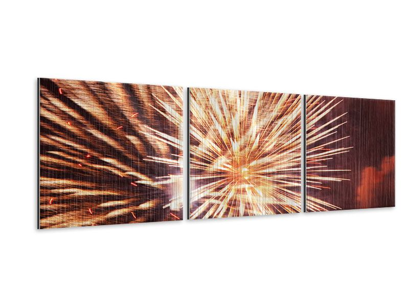Panorama Metallic-Bild 3-teilig Close Up Feuerwerk
