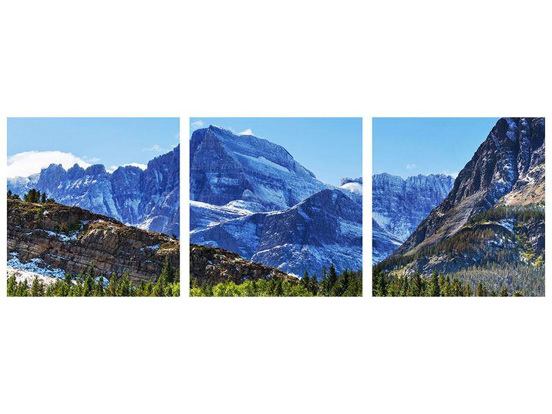 Panorama Metallic-Bild 3-teilig Dem Gipfel entgegen