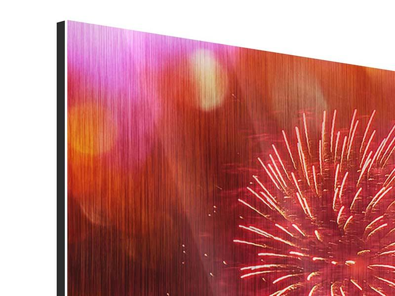 Panorama Metallic-Bild 3-teilig Buntes Feuerwerk