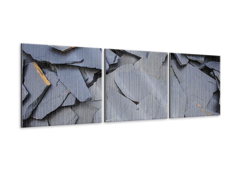 Panorama Metallic-Bild 3-teilig Schieferplatten