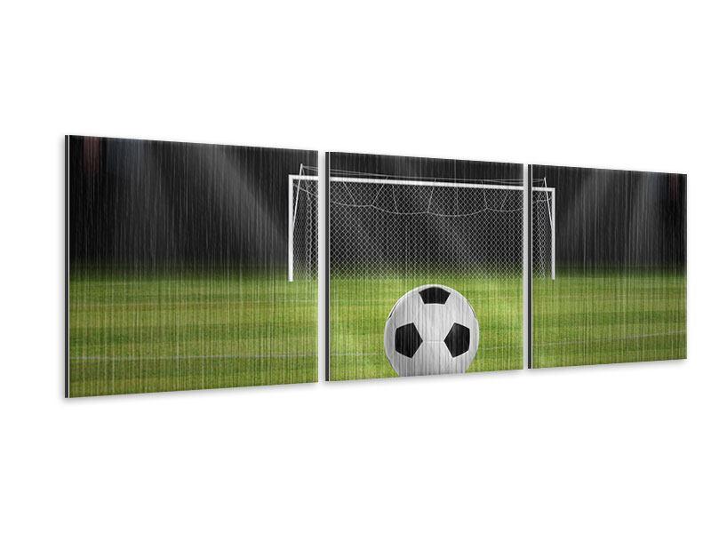 Panorama Metallic-Bild 3-teilig Fussball-Tor