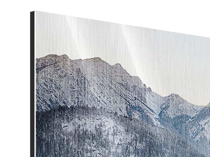 Panorama Metallic-Bild 3-teilig Schloss Neuschwanstein im Ammergebierge