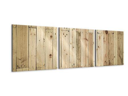 Panorama Metallic-Bild 3-teilig Holzpaneelen