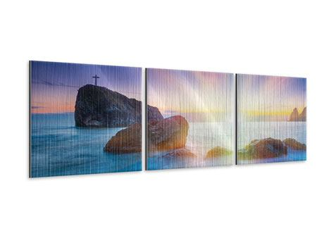 Panorama Metallic-Bild 3-teilig Mystisches Meer
