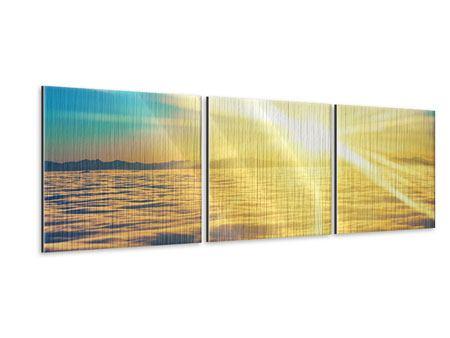 Panorama Metallic-Bild 3-teilig Sonnenuntergang über den Wolken