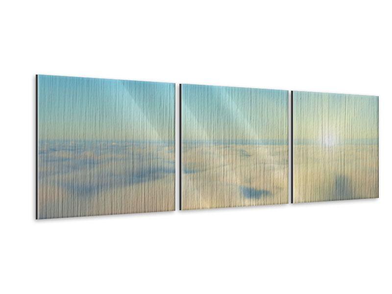 Panorama Metallic-Bild 3-teilig Dämmerung über den Wolken