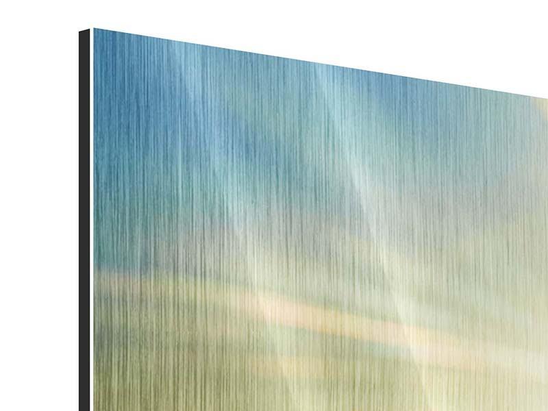 Panorama Metallic-Bild 3-teilig Sonnenaufgang über den Wolken