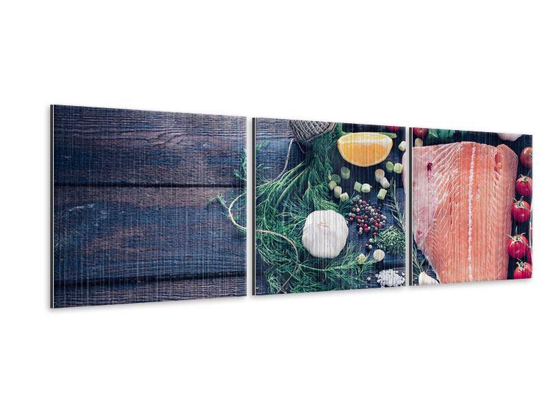 Panorama Metallic-Bild 3-teilig Fangfrischer Fisch