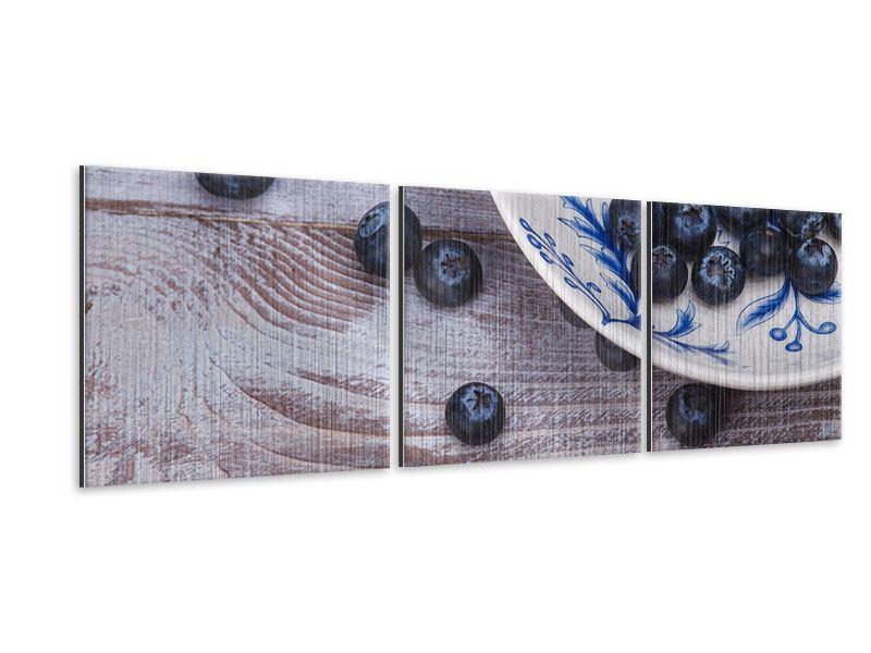 Panorama Metallic-Bild 3-teilig Blaubeeren